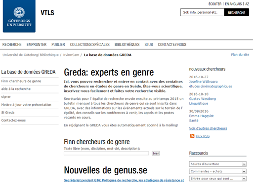 GREDA (Gender Researchers Database)